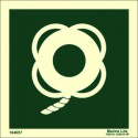 LIFEBUOY WITH LINE WITHOUT TEXT  (15x15cm) Phot.Vin. IMO sign 104057