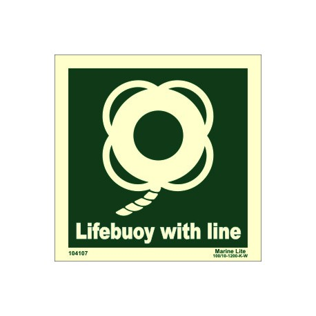 LIFEBUOY WITH LINE  (15x15cm) Phot.Vin. IMO sign 104107