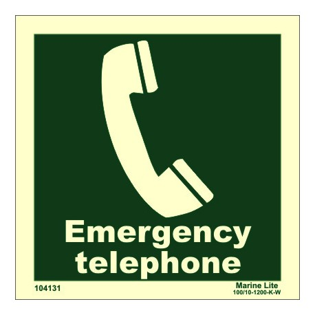 EMERGENCY TELEPHONE  (15x15cm) Phot.Vin. IMO sign 104131