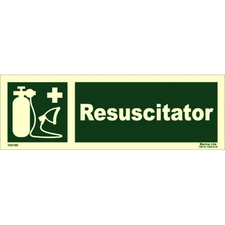 RESUSCITATOR  (10x30cm) Phot.Vin. IMO sign 104190