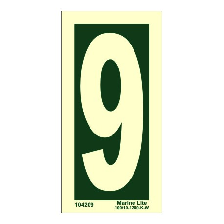 NUMBER 9  (15x7,5cm) Phot.Vin. IMO sign 104209