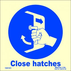 SECURE HATCHES  (15x15cm) Phot.Vin. IMO sign 105101