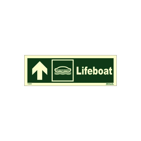 LIFEBOAT UP LEFT  (10x30cm) Phot.Vin. IMO sign 114300