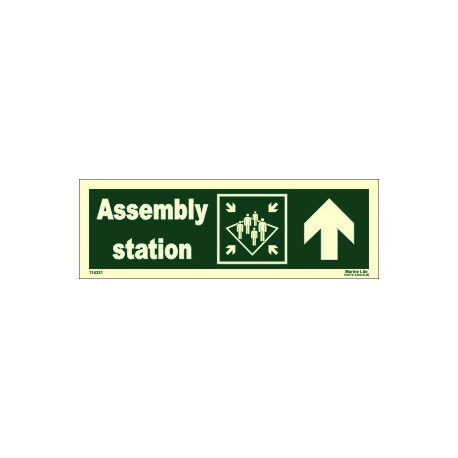 ASSEMBLY STATION UP RIGHT  (10x30cm) Phot.Vin. IMO sign 114321