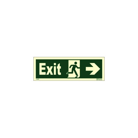 EXIT MAN RUNNING ARROW RIGHT  (10x30cm) Phot.Vin. IMO sign 114405