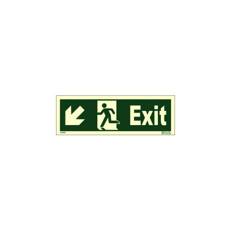 EXIT MAN RUN ARROW SIDE LEFT DOWN  (10x30cm) Phot.Vin. IMO sign 114406