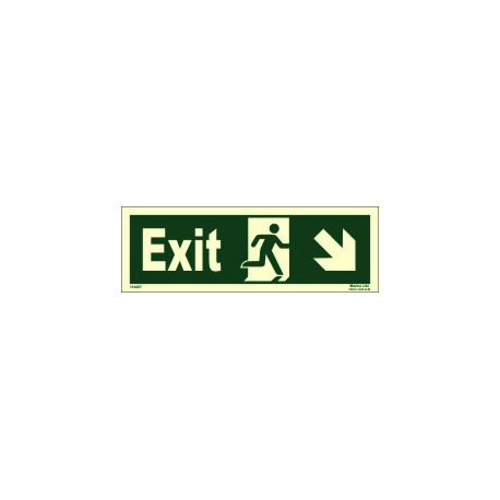 EXIT MAN RUN.ARROW SIDE DOWN RIGHT (10x30cm) Phot.Vin. IMO sign 114407