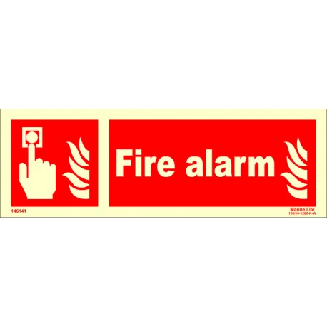 FIRE ALARM  (10x30cm) Phot.Vin. IMO sign 146141
