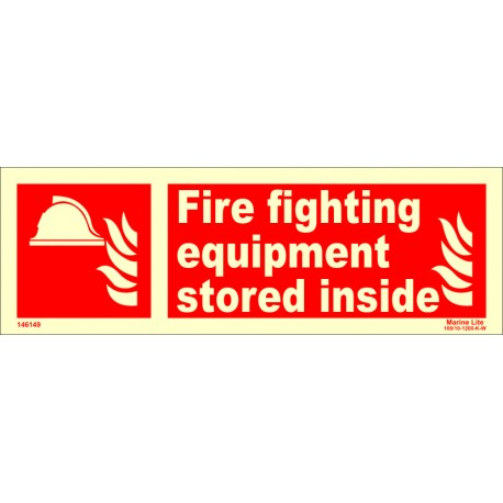 FIRE FIGHTING EQUIP.STORED INSIDE (10x30cm) Phot.Vin. IMO sign 146149