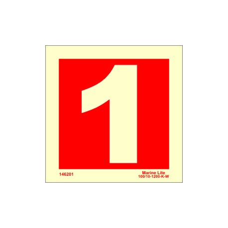 NUMBER 1  (15x15cm) Phot.Vin. IMO sign 146251