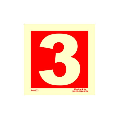 NUMBER 3  (15x15cm) Phot.Vin. IMO sign 146253