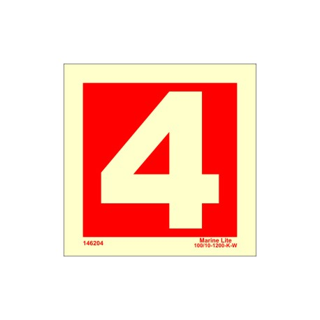 NUMBER 4  (15x15cm) Phot.Vin. IMO sign 146254