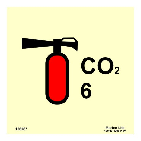 CO2 FIRE EXTINGUISHER 6KG  (15x15cm) Phot.Vin. IMO sign 156087