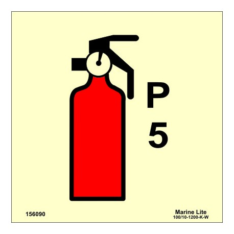 POWDER FIRE EXTINGUISHER 5LT  (15x15cm) Phot.Vin. IMO sign 156090