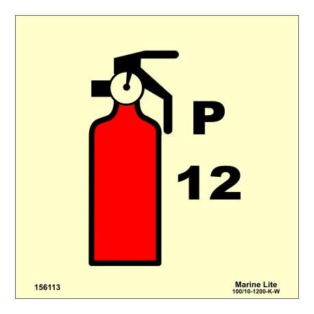 PORTABLE 12 KG POWDER  (15x15cm) Phot.Vin. IMO sign 156113