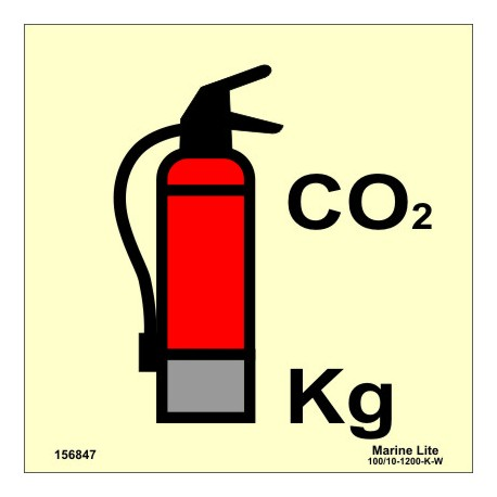 CO2 FIRE EXTINGUISHER  (15x15cm) Phot.Vin. IMO sign 156847