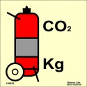 WHEELED CO2 FIRE EXTINGUISHER  (15x15cm) Phot.Vin. IMO sign 156852