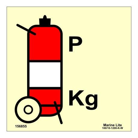 WHEELED POWDER FIRE EXTINGUISHER  (15x15cm) Phot.Vin. IMO sign 156855