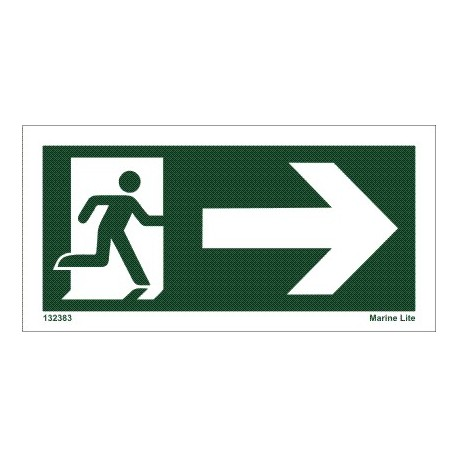 EXIT ARROW RIGHT  (7,5x15cm) Set 10 units IMO sign 132383TV