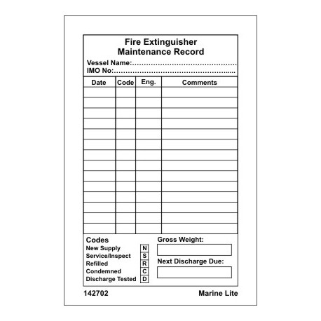 FIRE EXTINGUISHER MAINTENANCE RECORD  (15x10cm) White. Vin. IMO sign 142702WV