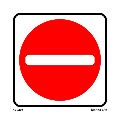 NO ENTRY  (15x15cm) White Vin. IMO sign 172421WV