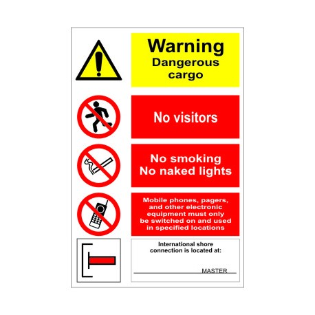 Póster WARNING - GANGWAY NOTICE. DANGEROUS CARGO...  (45x32cm) White Vin. IMO sign 173014WV