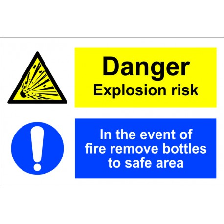 DANGER EXPLOSION RISK IN THE EVENT OF FIRE  (20x30cm) White Vin. IMO sign 173100WV