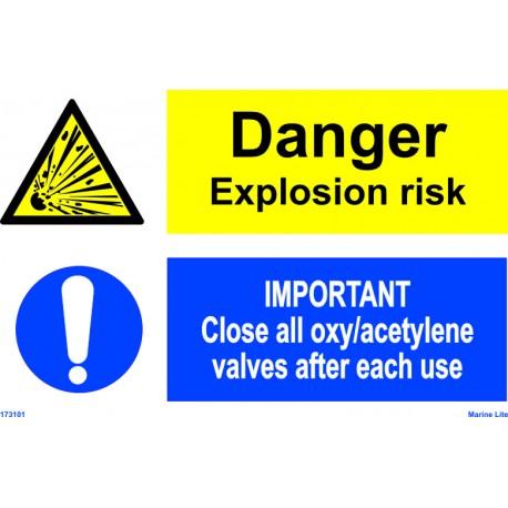 EXPLOSION RISK/CLOSE VALVES  (20x30cm) White Vin. IMO sign 173101WV