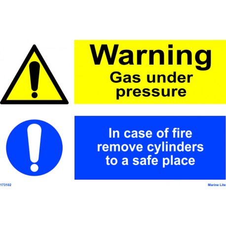 WARNING GAS UNDER PRESSURE / IN CASE OF FIRE REMOVE CYLINDERS  (20x30cm) White Vin. IMO sign 173102WV