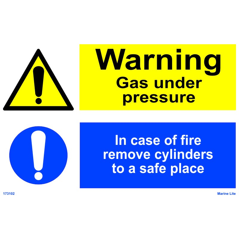 Warning Gas Under Pressure In Case Of Fire Remove Cylinders