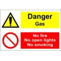 DANGER GAS/NO FIRE/NO OPEN LIGHTS/NO  (20x30cm) White Vin. IMO sign 173104WV