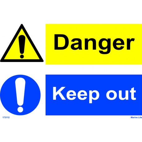 DANGER KEEP OUT  (20x30cm) White Vin. IMO sign 173112WV