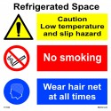 REFRIGERATED SPACE  (30x30cm) White Vin. IMO sign 173122WV