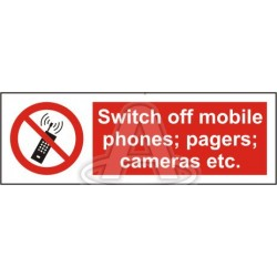 SWITCH OFF MOBILE PHONES, PAGERS, CAMERAS ETC  (15x30cm) White Vin. IMO sign 178570WV