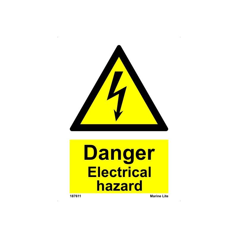 Electrical Hazard 20x15cm White Vin Imo Sign 187611wv