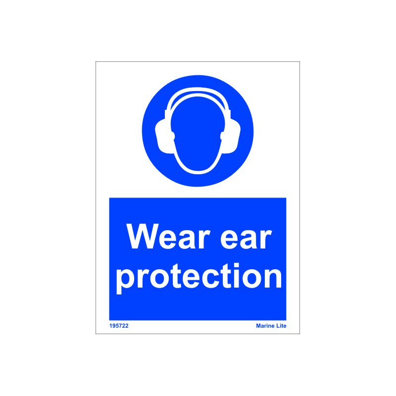 Wear Ear Protection 20x15cm White Vin Imo Sign 195722wv