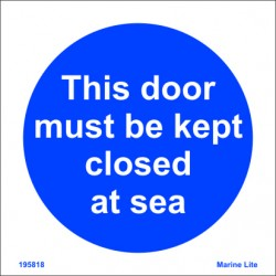 THIS DOOR MUST BE KEPT CLOSED AT SEA (15x15cm) White Vin. IMO symbol 195818WV