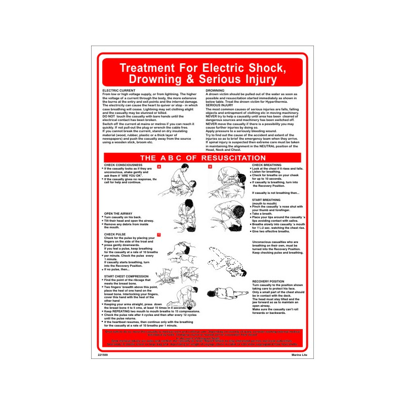 Póster ELECTRIC SHOCK,DROWNING & SERIOUS INJURY (45x32cm) White Vin ...