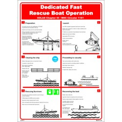 Póster DEDICATED FAST RESCUE BOAT OPERATION  (45x32cm) White Vin. IMO symbol 221573WV