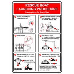 RESCUE BOAT LAUNCHING PROCEDURE  (45x32cm) White Vin. IMO symbol 230218WV