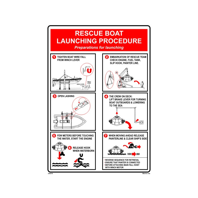 Rescue Boat Launching Procedure 45x32cm White Vin Imo