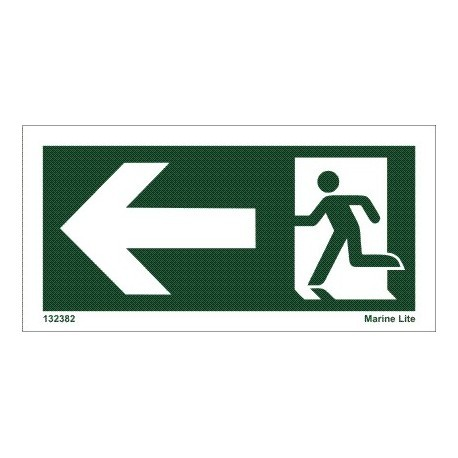 EMERGENCY EXIT LEFT  (4x7,5cm)  IMO sign 132382-34TV