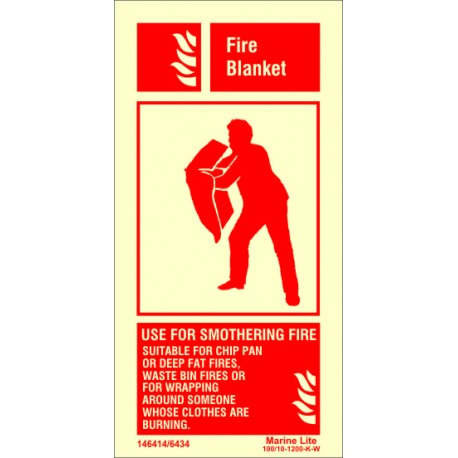 FIRE BLANKET  (20x10cm) Phot.Vin. IMO sign 146414/6434