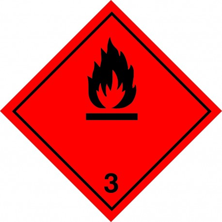 CLASS 3 FLAMMABLE LIQUIDS WITHOUT TEX (25x25cm) White Vin. IMO sign 172202(40)MAC RV