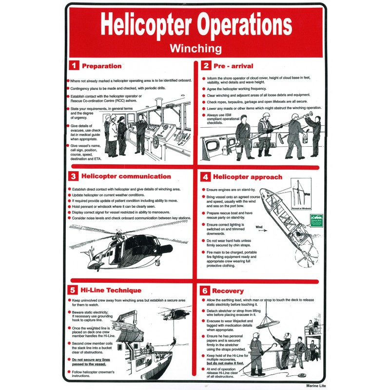 Pster Helicopter Operations Winching Pster 45x32cm White Vin