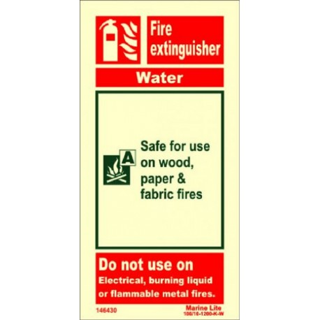 FIRE EXTINGUISHER WATER  (20x10cm) Phot.Vin. IMO sign 146430