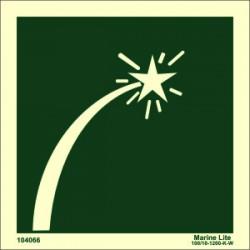 Señal IMO BENGALA EMBARCACIÓN SUPERVIVENCIA (15x15cm) vinilo fotoluminiscente 104066 / LSS013
