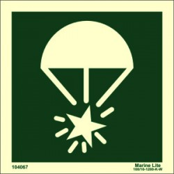 ROCKET PARACHUTE WITHOUT TEXT (15x15cm) Phot.Vin. IMO sign 104067 / LSS014