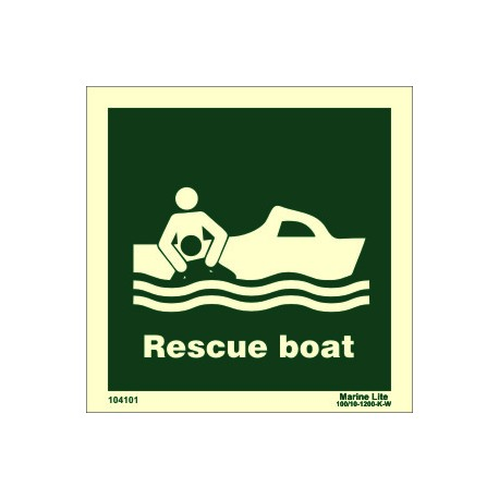 RESCUE BOAT  (15x15cm) Phot.Vin. IMO sign 104101