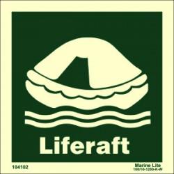 LIFERAFT  (15x15cm) Phot.Vin. IMO sign 104102